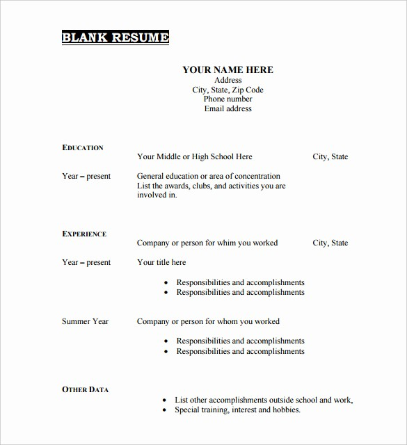 Resumes Fill In the Blanks New Free Printable Fill In the Blank Resume Templates