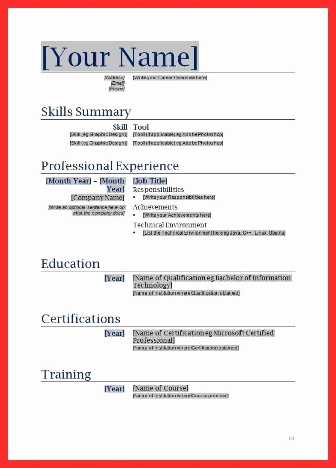 Resumes Fill In the Blanks New Resume Fill Out form Resume Sample