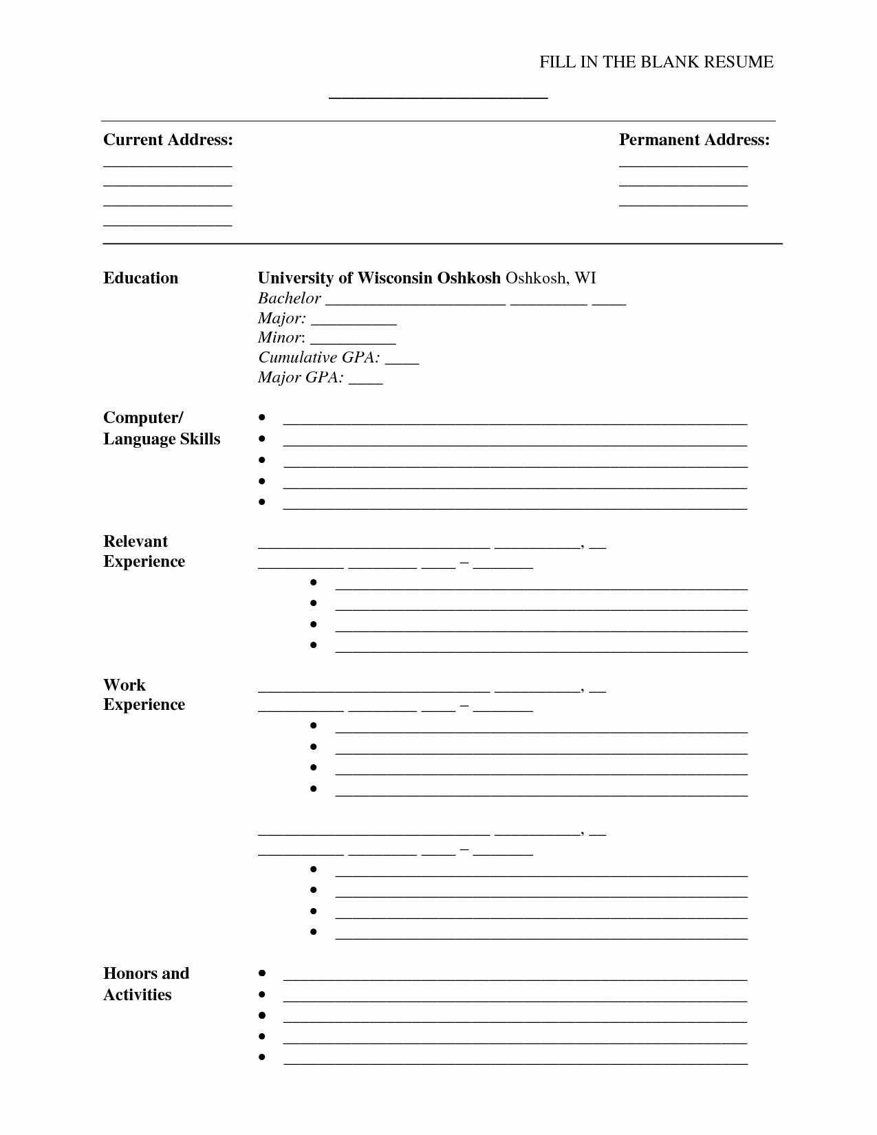 Resumes Fill In the Blanks Unique Fill In the Blank Resume Pdf Umecareer