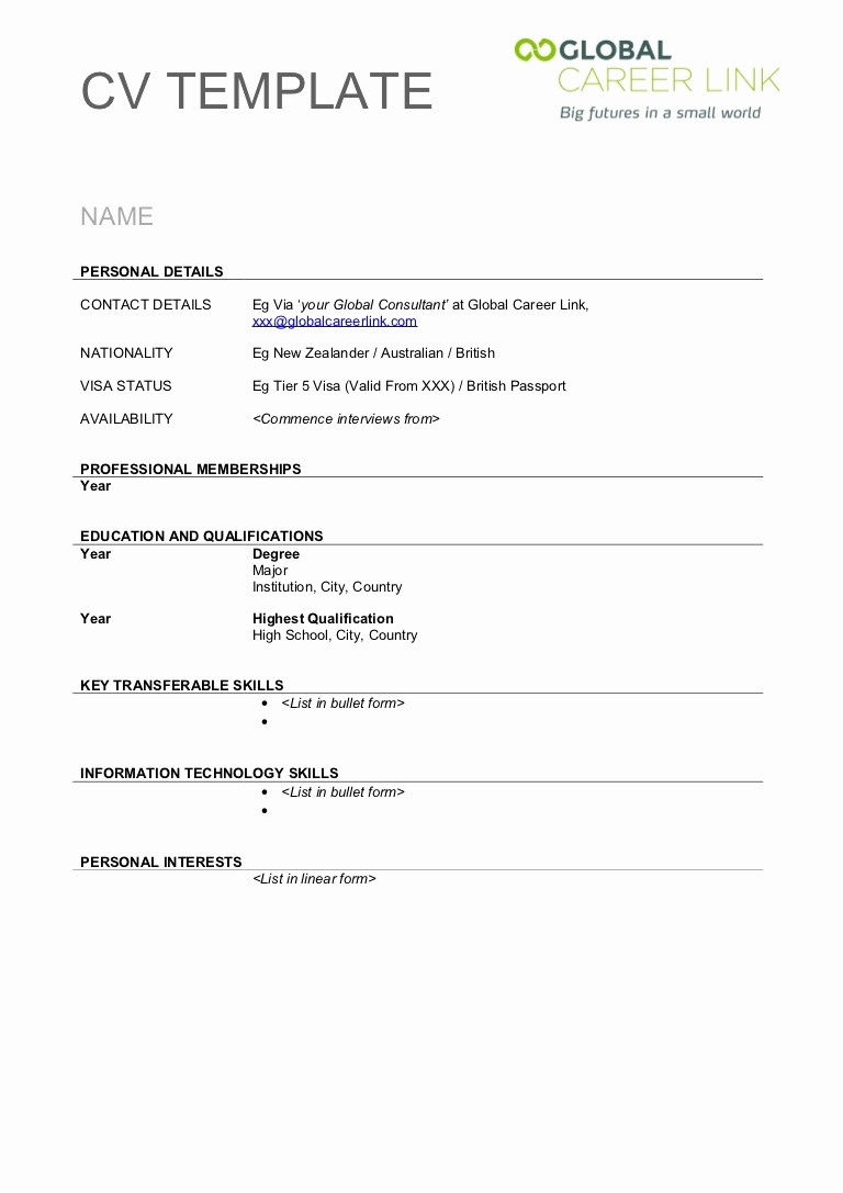Resumes Fill In the Blanks Unique Printable Cv Template Printable Pages
