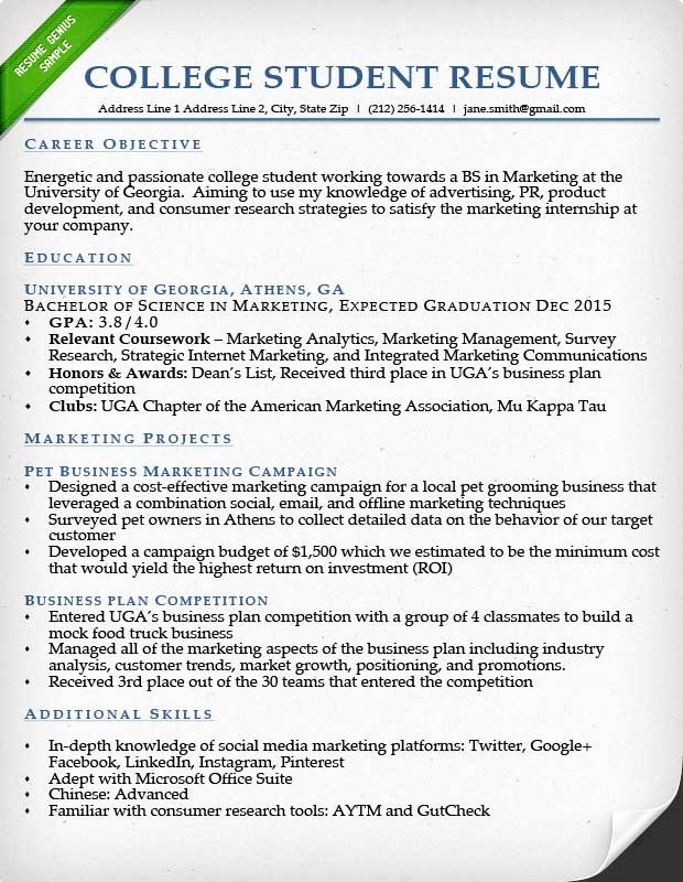 Resumes for New College Graduates Beautiful Internship Resume Samples & Writing Guide