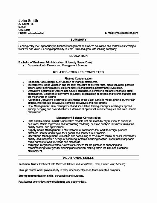 recent graduate resume examples