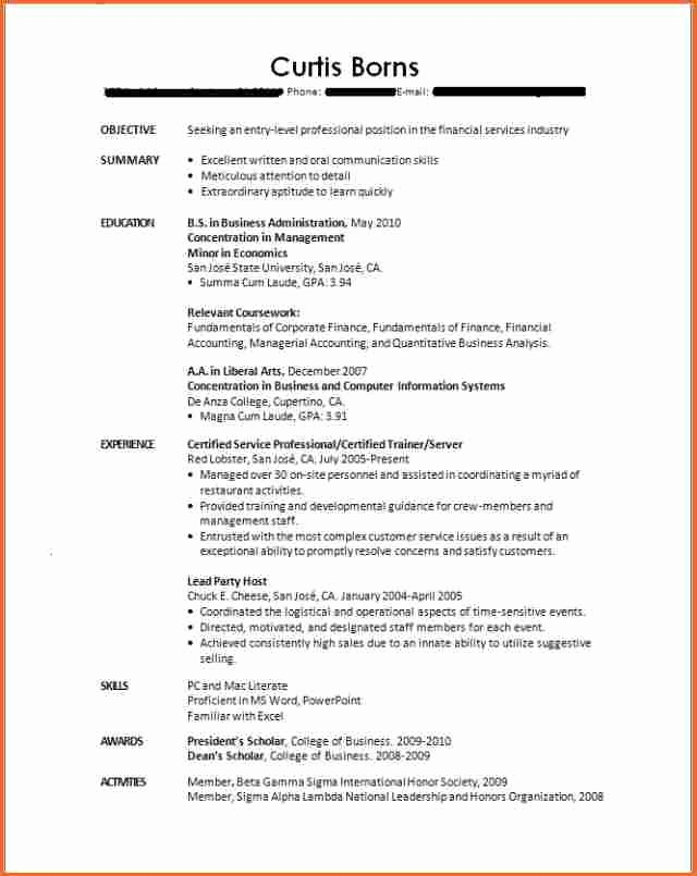 Resumes for New College Graduates Fresh 10 Resume Template for Recent College Graduate Bud
