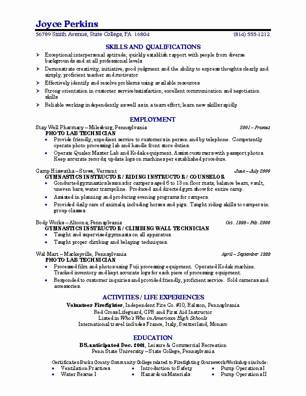 Resumes for Recent College Grads Awesome Sample Resume College Student