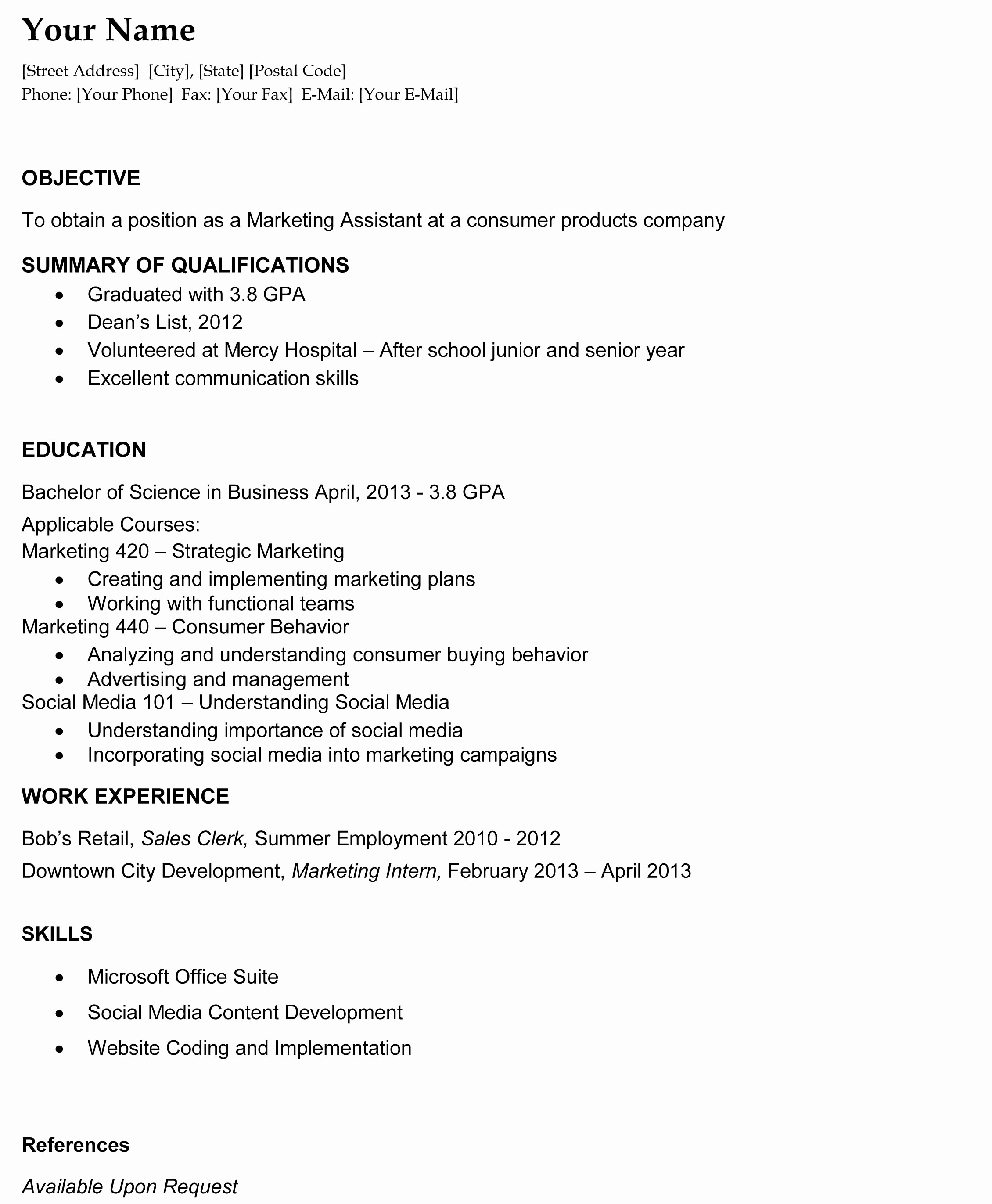 recent college graduate resume