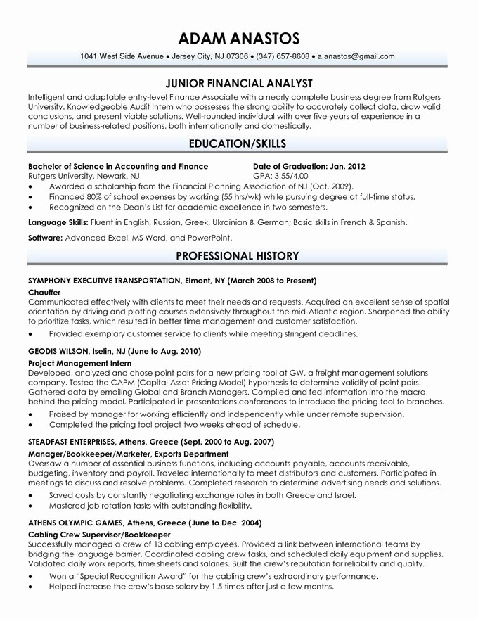 Resumes for Recent College Grads New Recent Graduate Resume Examples Best Resume Collection