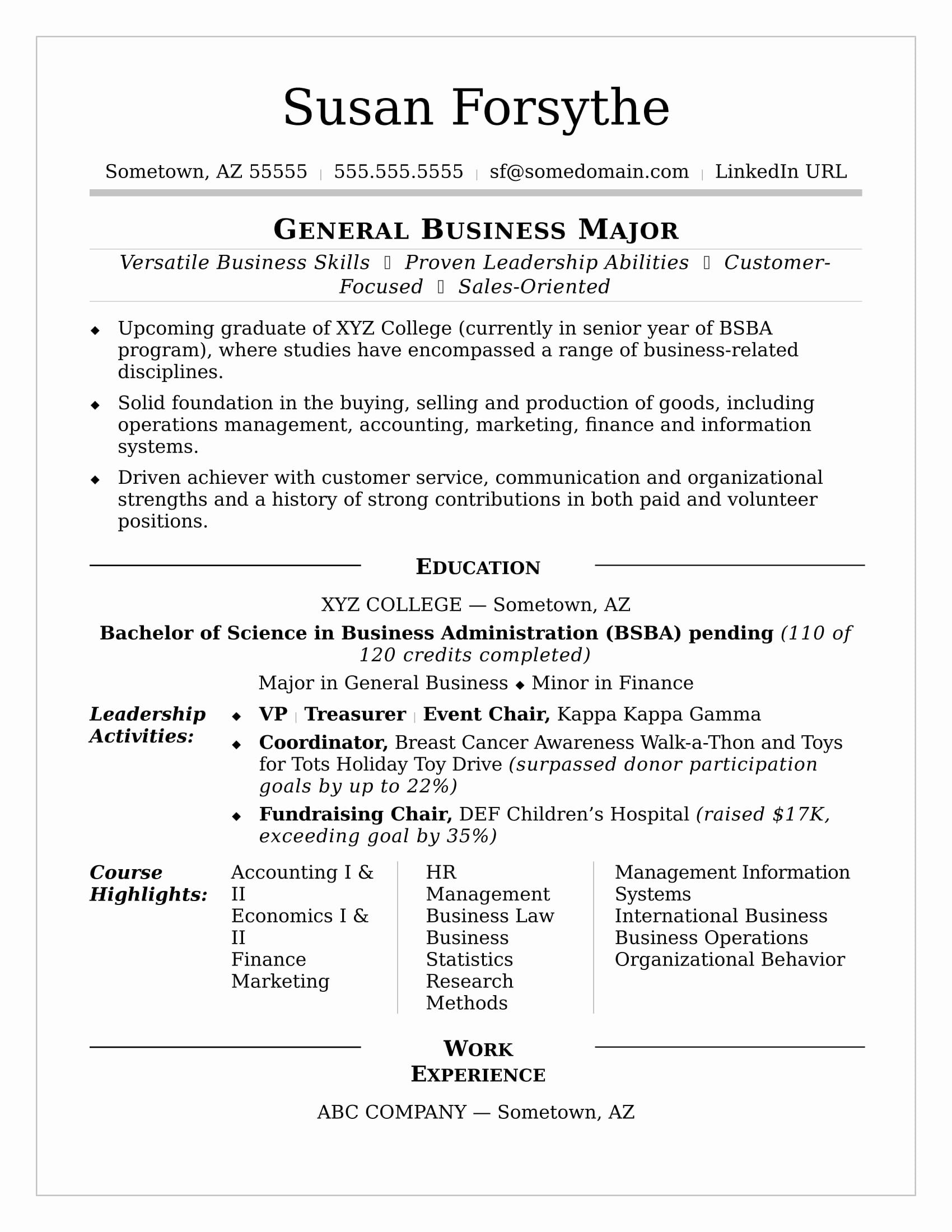 Resumes for Recent College Grads Unique College Resume Sample