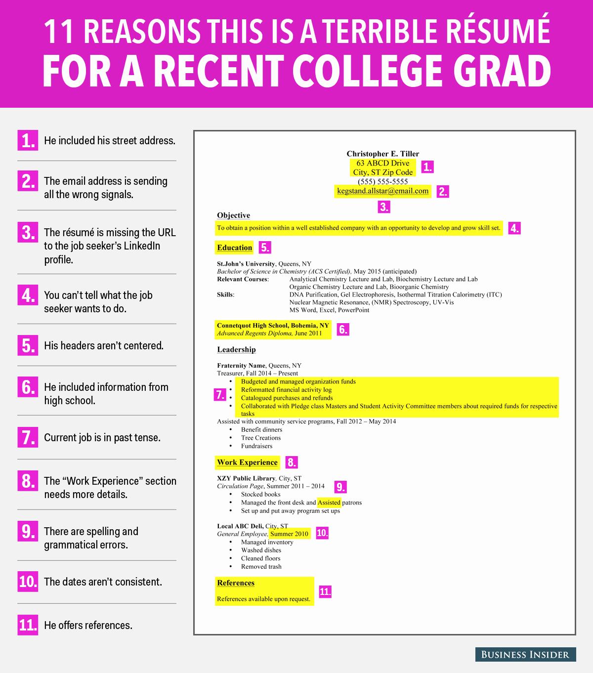 Resumes for Recent College Graduates Beautiful Terrible Resume for A Recent College Grad Business Insider
