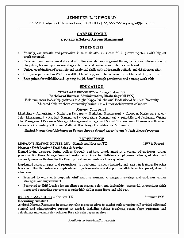 Resumes for Recent College Graduates New Recent Graduate Resume Examples Best Resume Collection