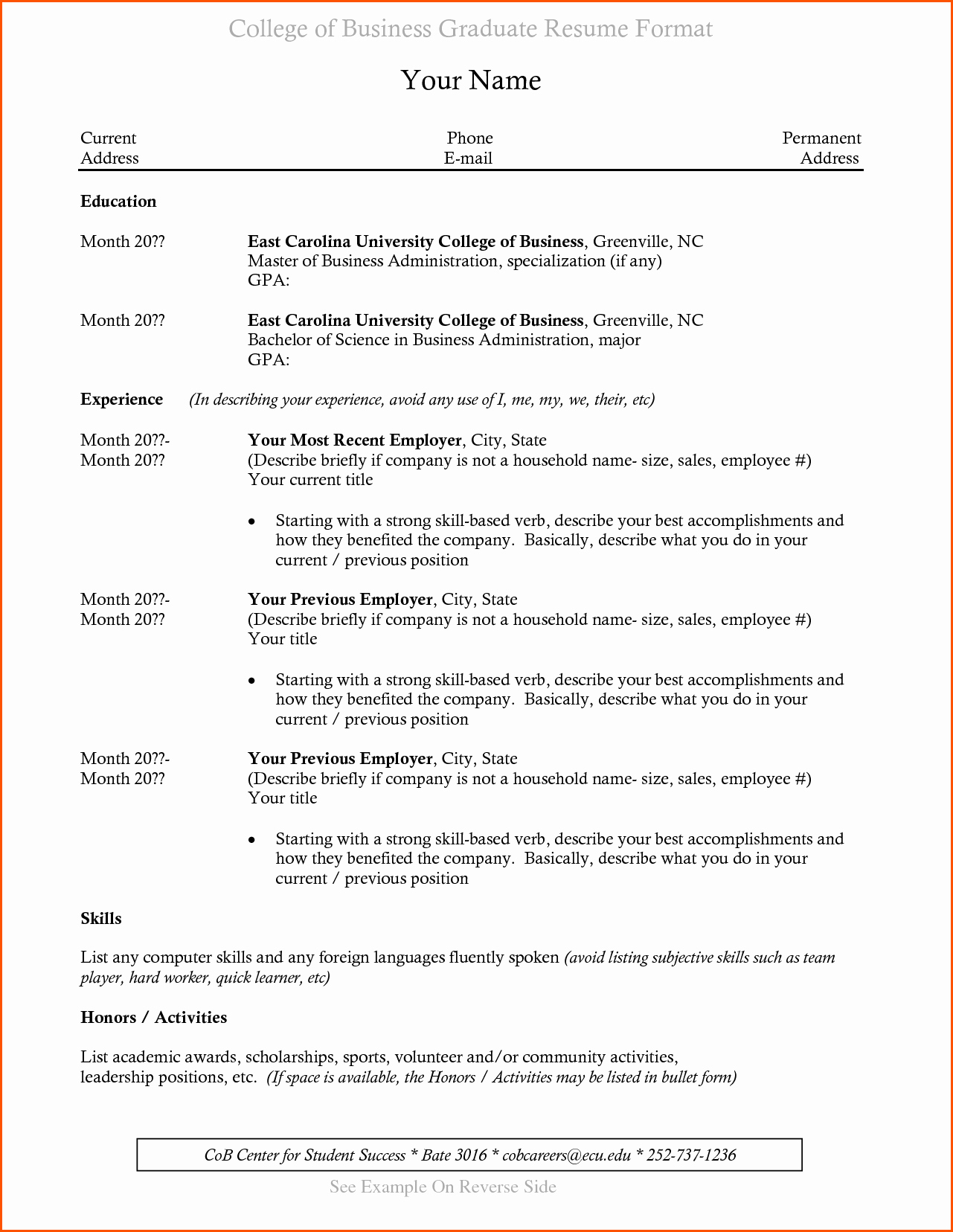 Resumes for Recent College Graduates New Resumes for College Graduates with No Experience