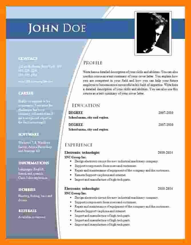 Resumes On Microsoft Word 2007 Elegant 9 Cv format Ms Word 2007