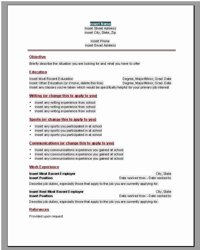 Resumes On Microsoft Word 2010 Awesome Curriculum Vitae En Word 2010