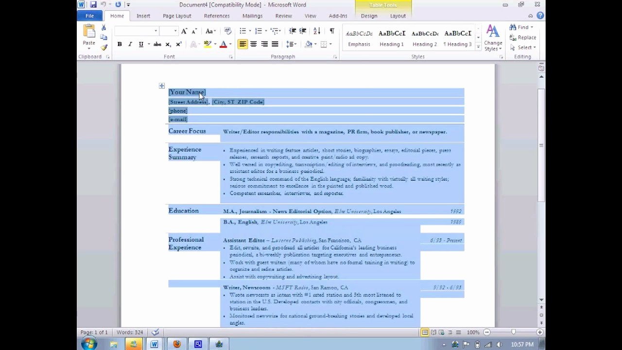 Resumes On Microsoft Word 2010 Inspirational How to Make A Resume In Microsoft Word 2010