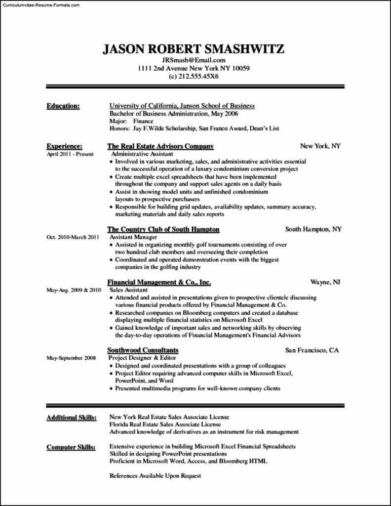 Resumes On Microsoft Word 2010 Lovely Resume Template In Microsoft Word 2010 Free Samples
