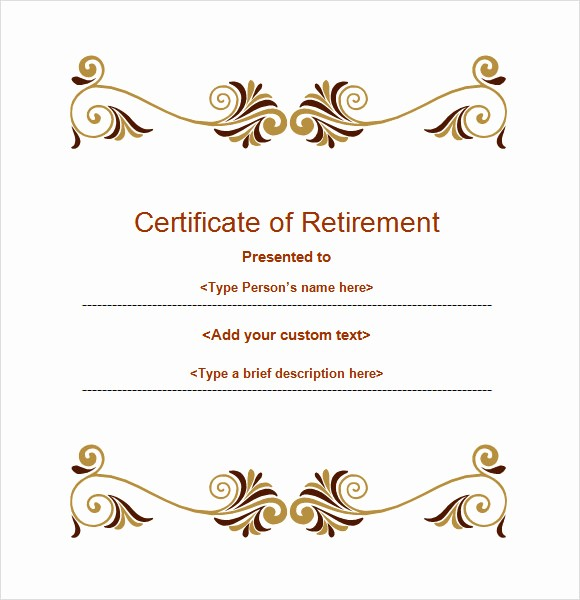 Retirement Certificate Templates for Word Awesome 8 Sample Retirement Certificate Templates to Download