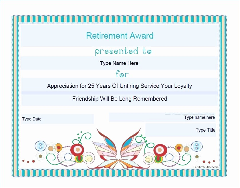 Retirement Certificate Templates for Word Beautiful Certificate Template Word 2016