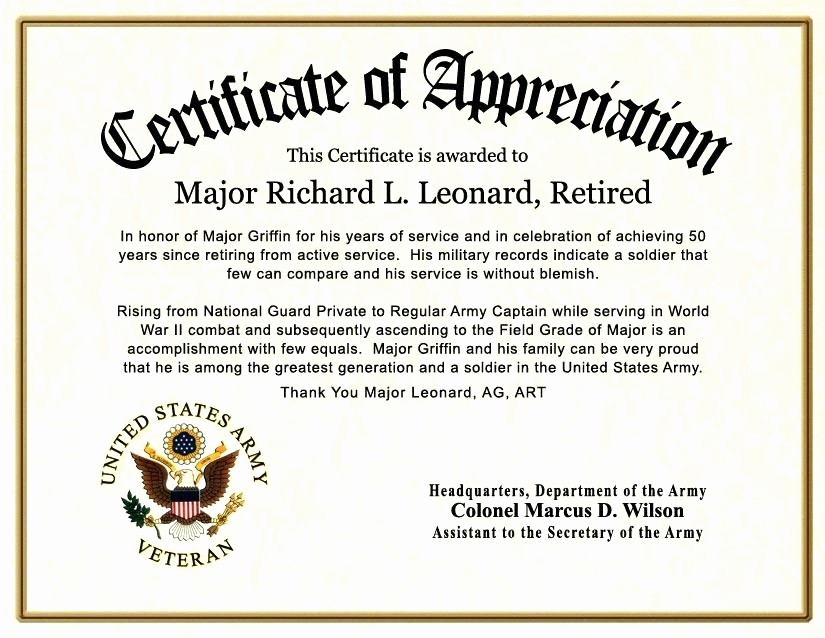 Retirement Certificate Templates for Word Beautiful Military Certificate Appreciation Template Ideal Co