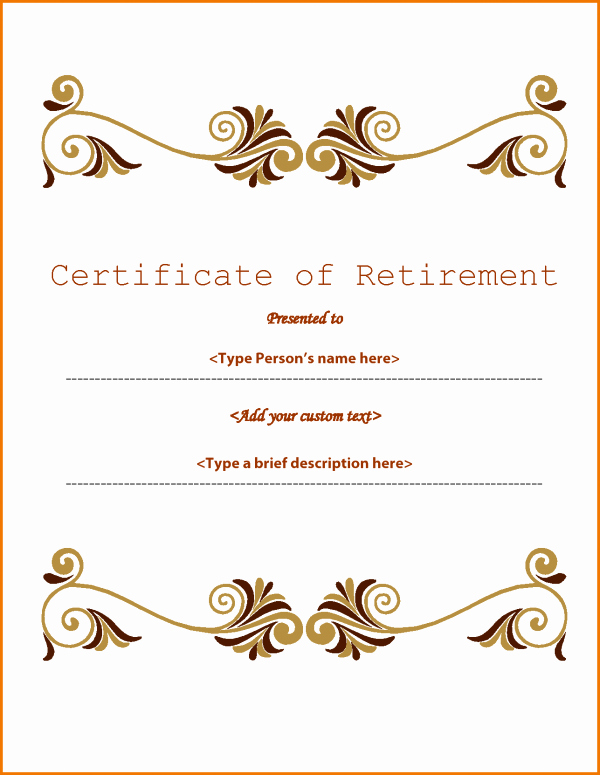 Retirement Certificate Templates for Word Beautiful Retirement Certificate Templates Madrat