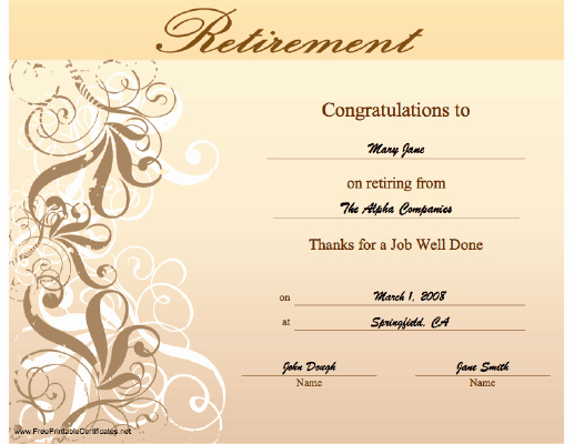 Retirement Certificate Templates for Word Beautiful This Retirement Certificate with An ornate Swirl Design
