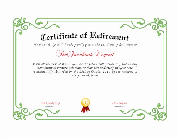 Retirement Certificate Templates for Word Best Of 8 Sample Retirement Certificate Templates to Download