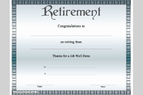 Retirement Certificate Templates for Word Elegant 9 Best Of Free Blank Printable Retirement Templates