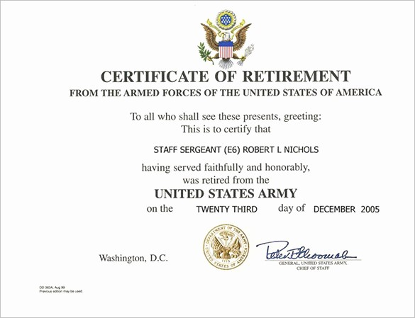 Retirement Certificate Templates for Word Elegant 9 Retirement Certificate Templates Doc Pdf