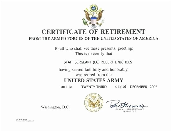 Retirement Certificate Templates for Word Elegant Air force Certificate Of Appreciation Template