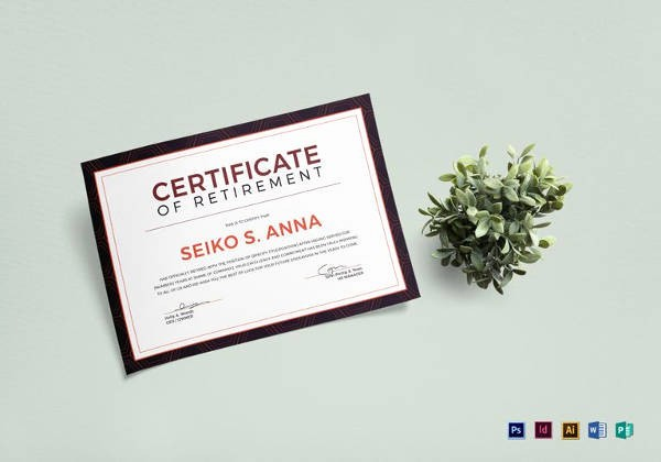 Retirement Certificate Templates for Word Inspirational 8 Sample Retirement Certificate Templates to Download