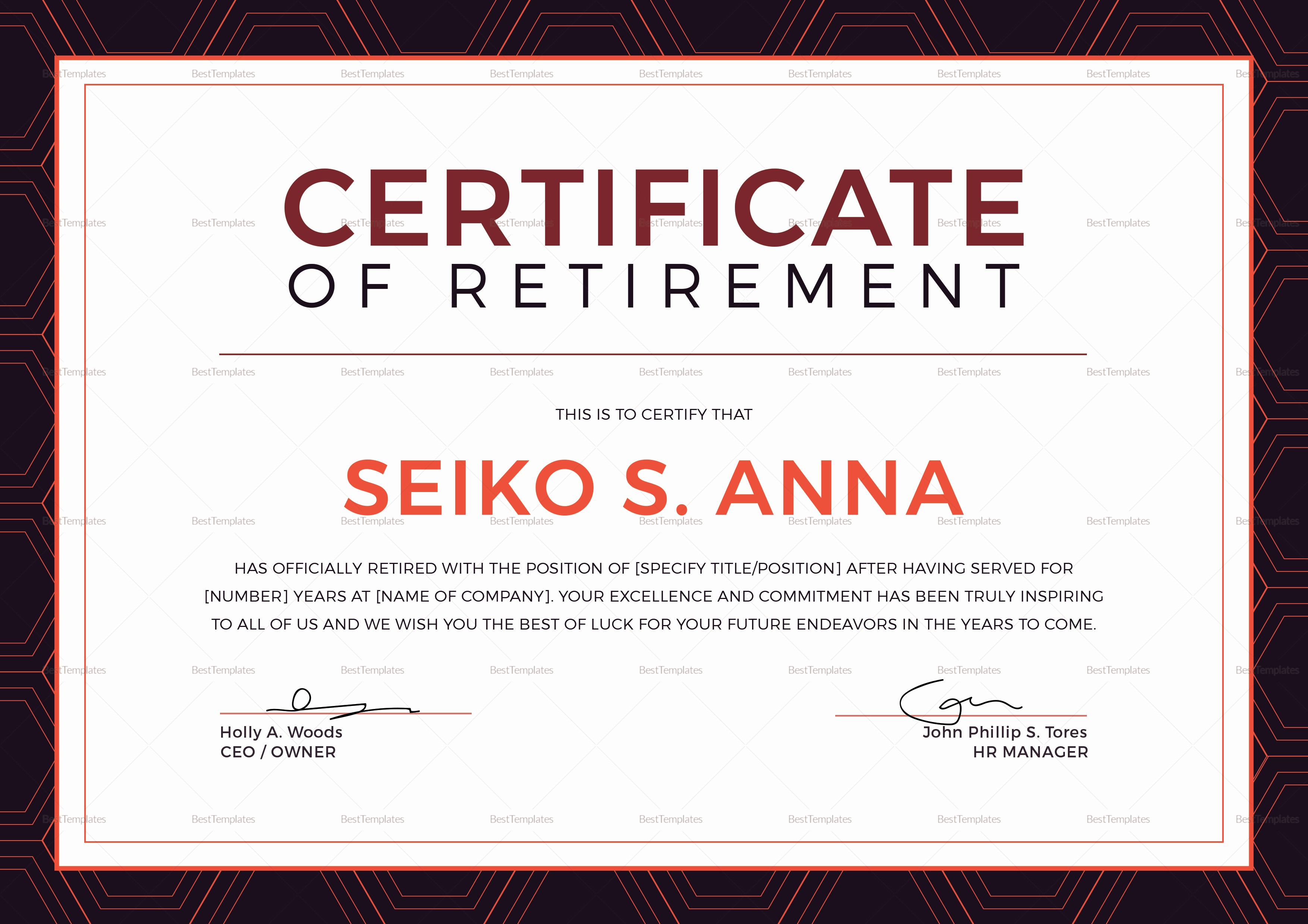 Retirement Certificate Templates for Word Lovely Retirement Certificate Design Template In Psd Word