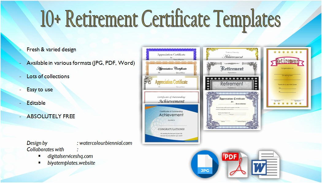 Retirement Certificate Templates for Word Lovely Retirement Certificate Templates [10 Official Designs]