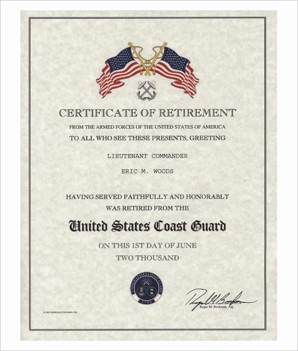 Retirement Certificate Templates for Word New Retirement Certificate Template