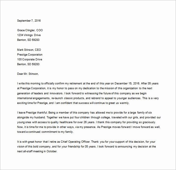Retirement Letter Of Resignation Sample Elegant 27 Resignation Letter Templates Free Word Excel Pdf