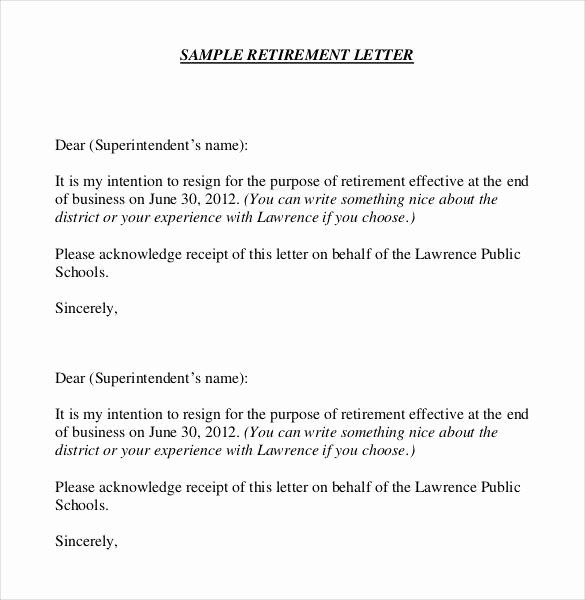 Retirement Letter Of Resignation Sample Fresh 36 Retirement Letter Templates Pdf Doc