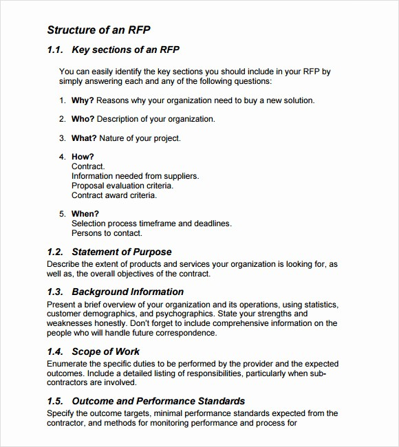 Rfp Response Template Microsoft Word Elegant 9 Rfp Templates for Free Download