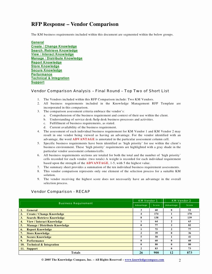 Rfp Response Template Microsoft Word New Microsoft Word Km Rfp Response Vendor Parison Vc