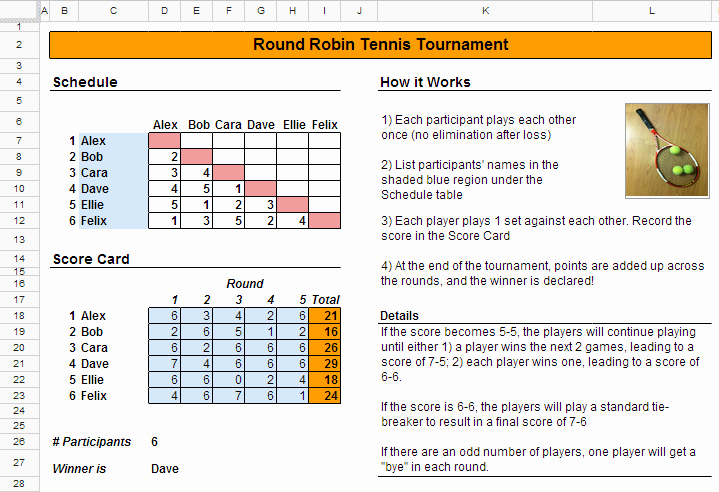 Round Robin tournament Template Excel Awesome How to Schedule A Tennis tournament Spreadsheetsolving