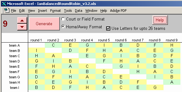 Round Robin tournament Template Excel Beautiful Round Robin tournament Scheduling Court Balanced Round Robin