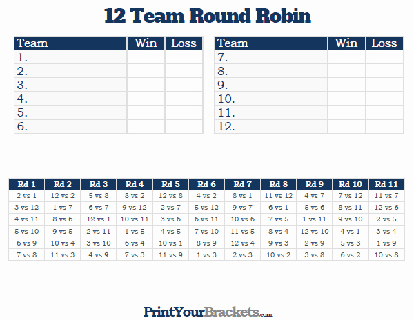 Round Robin tournament Template Excel Inspirational 12 Team Round Robin Printable tournament Bracket
