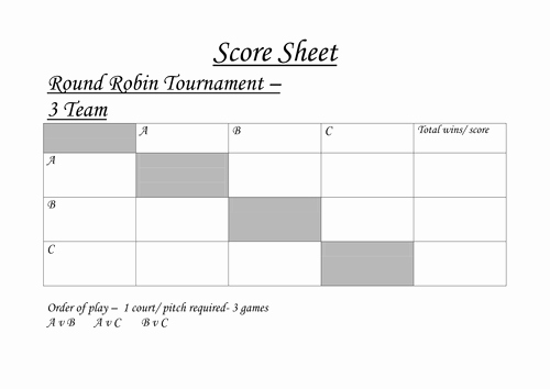 Round Robin tournament Template Excel Inspirational Round Robin tournament Sheets by Acropley Teaching