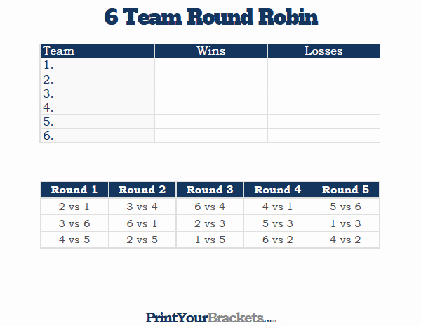 Round Robin tournament Template Excel Lovely 6 Team Round Robin Printable tournament Bracket