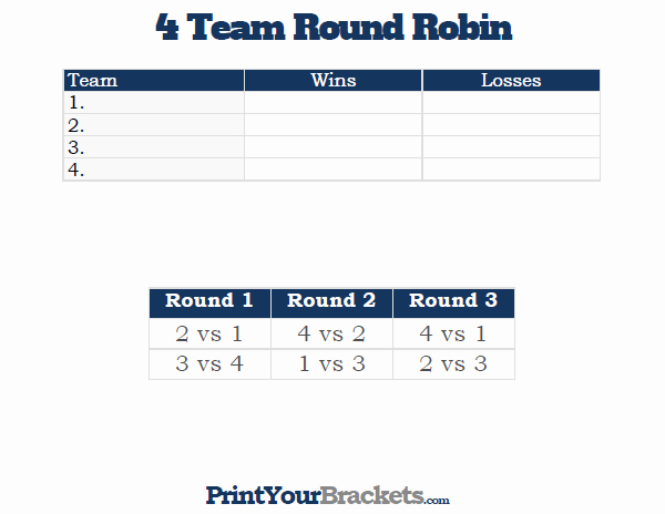 Round Robin tournament Template Excel New 4 Team Round Robin Printable tournament Bracket