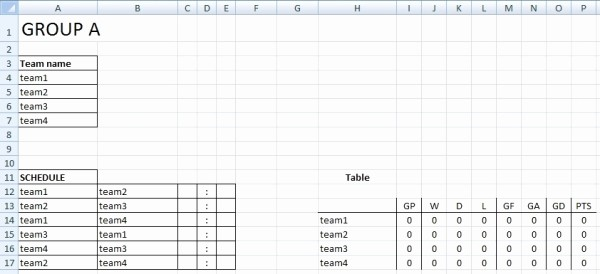Round Robin tournament Template Excel New Sport tournament Template