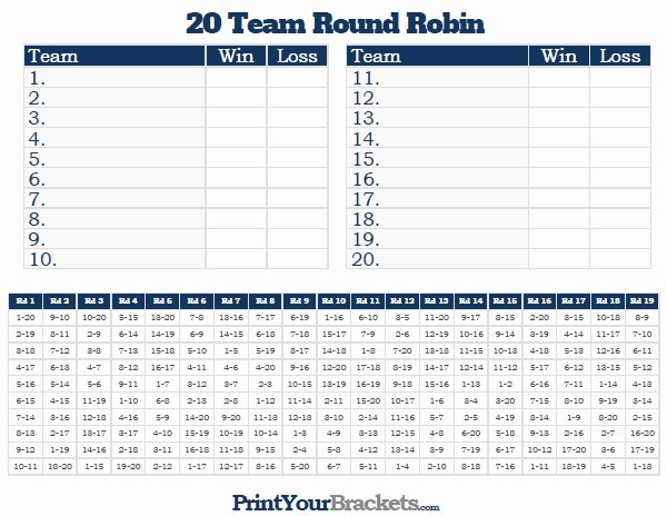 Round Robin tournament Template Excel Unique 6 Team Round Robin Printable tournament Brackets