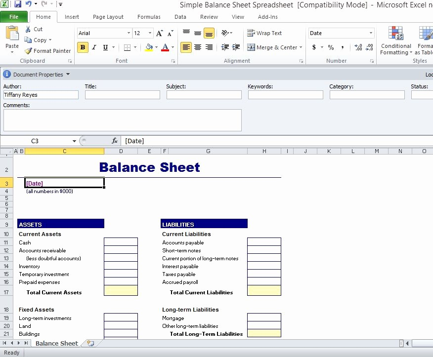 S Corp Balance Sheet Template Awesome Simple Balance Sheet Template for Excel