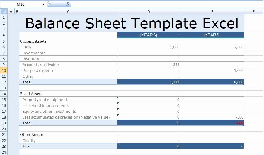 S Corp Balance Sheet Template Inspirational Balance Sheet Template Excel Free
