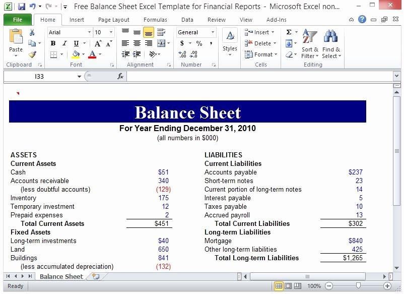 S Corp Balance Sheet Template Inspirational Free Balance Sheet Excel Template for Financial Reports