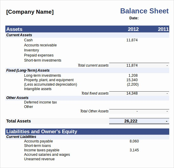 S Corp Balance Sheet Template Lovely Balance Sheet Template – 11 Free Samples Examples & formats
