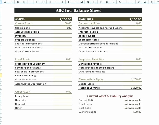 S Corp Balance Sheet Template Lovely Corporate Balance Sheet Template Excel Finance Pany