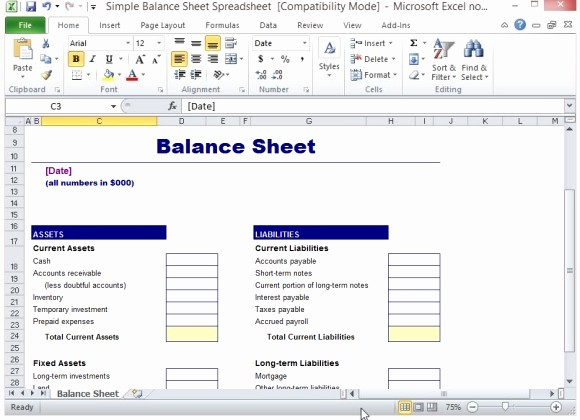 S Corp Balance Sheet Template Unique Simple Balance Sheet Template for Excel