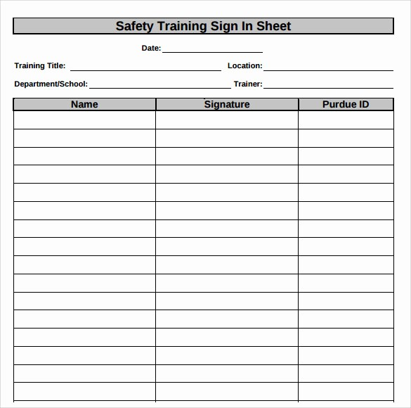 Safety Meeting Sign Off Sheet Awesome 34 Sample Sign In Sheet Templates – Pdf Word Apple